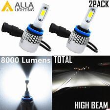 Alla Lighting 8000LM 6000K COB-LED H9 High Beam Headlight Bulbs Lamp Xenon White