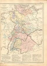 1868 ANTIQUE MAP- DRIOUX et LEROY-GERMAN CONFEDERATION, PHYSICAL AND POLITICAL