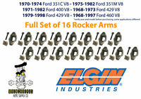 Elgin Set of 16 Ford 351C 351M 400 429 460 V8 Rocker Arm Kit with Stud & Pivot
