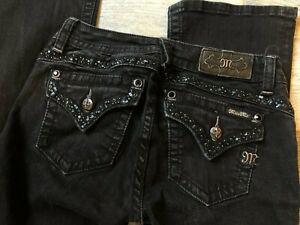 Miss Me Denim Jeans size 27 Mid rise Boot BootCut Black Denim Back Flap Pockets
