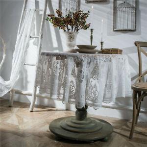 Round White Black Lace Tablecloth Nordic Retro Embroidery Wedding Party Decor