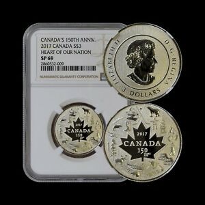 CANADA. 2017, 3 Dollars, Silver - NGC SP69 - Heart of our Nation 🇨🇦 ❤️