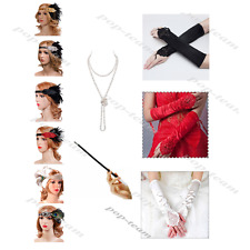 Flapper Charleston Gatsby 1920s Accessories Headband Necklace Gloves Holder