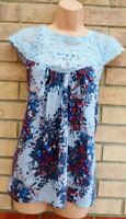 NEXT BLUE FLORAL LACE CROCHET NECK SHORT SLEEVE BAGGY COTTON TOP BLOUSE 12 M