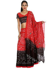 Lehenga Choli Womens Cotton Ethnic Patch Work Black Traditional Dress