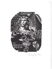 PETERIS UPITIS: Exlibris für Dr. Gernot Blum, Sphinx, Pyramide