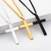 Herren Edelstahl Kette Halskette Kreuz Cross Anhänger - silber / gold / schwarz