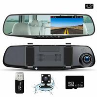 "Mirror Dash Cam 4.3""LCD FHD 1080P 140° Wide Angle Front Rear Dashboard DVR 8GB"