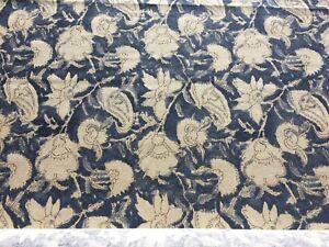 3.25 yds Ralph Lauren China Blue Floral Upholstery Fabric PT