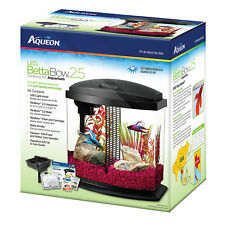 Aqueon 2.5 Gallon BettaBow LED Desktop Fish Aquarium Kit, Black