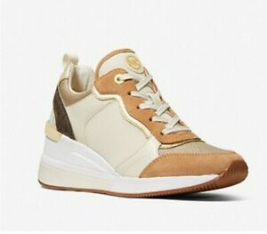 Michael Kors Crista Suede Metallic Canvas  Sneaker Shoes Ecru