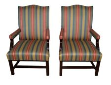 Pair Hancock & Moore Mahogany Lounge Arm Chairs