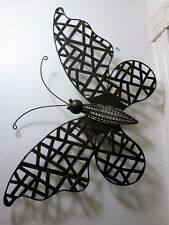 """24"""" LARGE ORNATE BLACK METAL BUTTERFLY WALL HANGING"""