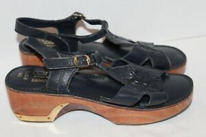 Vintage~CONNIE~Brasil~NAVY BLUE Leather~SANDALS~Wood Heel~BRASS Accents~SIZE 9 M