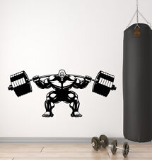 Vinyl Wall Decal Gorilla Home Gym Barbell Muscles Logo Stickers (3091ig)