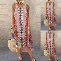 ZANZEA Womens Sleeveless O Neck Floral Beach Dress Ladies Long Vest Sundress
