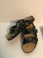 8063d399e8c8 MAIBULUN WOMEN S BLACK FLORAL DOUBLE BUCKLE SLIDE SANDAL SIZE 8 M NEW