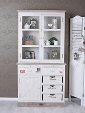 Buffet de cuisine vitrine blanc bois shabby armoire cabinet portes et tiroirs