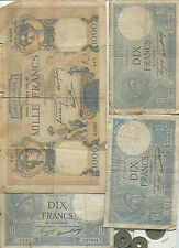 3.520,00 F 1936 - 1940 Dont 4 RARES 10F 1936, 1000F 1937 (105 Billets)