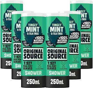 Original Source Vegan Mint and Tea Tree Shower Gel Cleansing Body Wash 250ml x 6