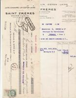 Saint Freres 1929 Paris Invoice & Various Cancels Revenue Stamp Receipt Rf 43080