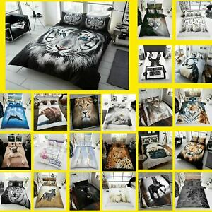 3D Animal Printed Duvet Cover Pillow Cases Quilt Bedding Set Single Double King