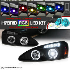 !RGB COB LED Bulbs!Black Angel Eye Projector Headlight 04-08 Pontiac Grand Prix