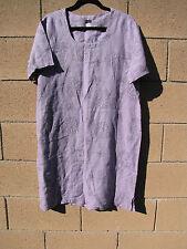 VTG Garden Gear 100% Linen Lilac Floral Short Sleeve Tunic Shift Dress L