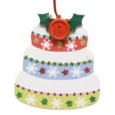 Gisela Graham - Christmas Cake Design Wooden Christmas Decoration - 10824