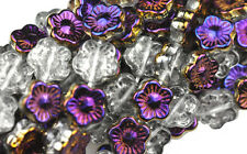 25 Iris Purple AB Czech Glass Flower Beads 12MM