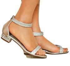 Womens Ladies Party Diamante Ankle Straps Low Flat Heel Shoes Sandal Size-1019