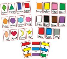 Shapes Colours Flash Cards Kids Toddlers Preschool Early Learning Resource EYFS
