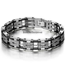 Mens 8MM Stainless Steel Biker Motorcycle Chain Black Rubber Bracelet 8.3""