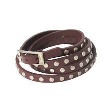 Dark Brown Leather Silver Studs Studded Straps Wristband Buckle Bracelet