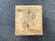 Brilliant search light carbide gas light wood box advertising Chicago coal miner