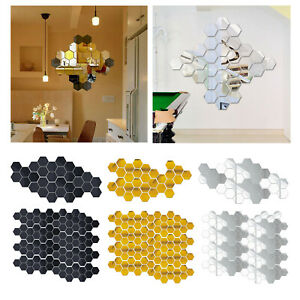30 3D Mirror Tiles Mosaic Wall Sticker Self Adhesive Bedroom Art Decal Home