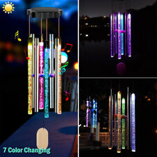 Solar Color Changing Led Wind Chimes Garden Yard Decor Hanging Light w/ 8 Tubes