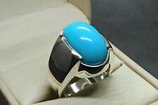 Natural Neshapuri Feroza Mens Ring Sterling Silver 925 Handmade Turquoise Ring