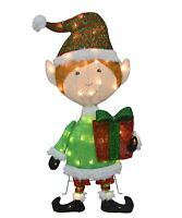 ProductWorks 32-Inch Pre-Lit Elf Christmas Yard Decoration, 50 Lights