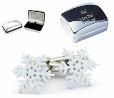 Santa  Xmas Christmas SNOWFLAKE Cufflinks + Engraved Chrome Case  Personalised