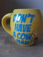 The Simpsons Bart Mug Don't Have a Cow Man Yellow Coffee Mug Oval (hwy1)