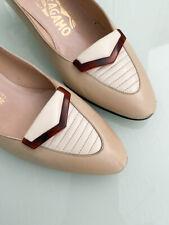 Vintage Salvatore Ferragamo Beige Oxford Tortoise Pumps Heels Shoes size 5.5