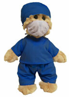 TIC TOC TEDDY BEAR DOCTOR  30CM IN SCRUBS AND FACE MASK READY FOR SURGERY