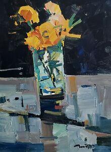JOSE TRUJILLO Oil Painting IMPRESSIONISM 12X16 STILL LIFE FLOWERS FLORAL ARTIST