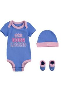 Brand New Nike New Born 0-6 Months Pastel Pink And Purple 3 Piece Set