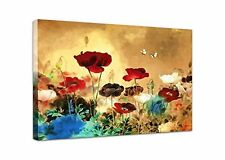 Wieco Art Canvas Print Blooming Poppies paintings Modern Canvas Wall Art for Wal