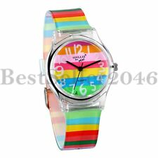 Kids Watch Rainbow Jelly Color Time Teacher Teen Girls Analog Silicone Band Gift