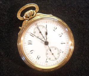M15 Le Coultre Split Second Chronograph Antique Pocket Watch *Nice-Runs-Repair*