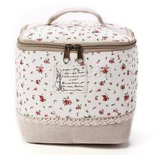 Travel Makeup Cosmetic Linen Toiletry Case Organizer Wash Storage Pouch Bag Ren Flora