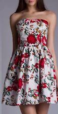 Cache Cache Women's Floral Pattern Skater Bandeau Dress - Size 40/M Cotton